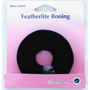 Hemline H696.8.B | Black 100% Cotton Featherlite Boning 8mm x 2m