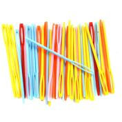 """BESTCYC 7cm (2.75"""") 100pcs Mixed Colour Plastic Hand Sewing Yarn Darning Tapestry Needles Plastic Lacing Needles for DIY Notions Craft Stitchery"""