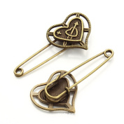 GIONO 10 PCS Heart with Arrow Bronze Brooch Safety Pins Alloy Vintage DIY Jewellery Accessories