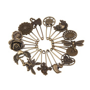 GIONO 14 Pcs Bronze Vintage Brooch Safety Pins Alloy DIY Jewellery Accessories