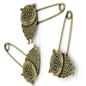 GIONO 10pcs Bronze Owl Brooch Safety Pins Alloy Vintage DIY Jewellery Accessories