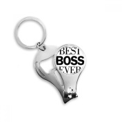 Best Boss Ever Quote Metal Key Chain Ring Multi-function Nail Clippers Bottle Opener Car Keychain Best Charm Gift