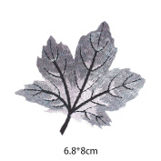 HuntGold 1Pcs Maple Leaves Embroidery Patches Cloth Patch Paste Iron On Sew On Badge Applique Motif Craft Durable 6 Colours for Choice - Grey