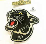 20cm Panther Embroidered Iron-on Sew On Patch Animals Wildlife Black Tiger Embroidery Designs Appliques for Cloth Shirts Jeans Jackets Backpacks