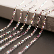 USIX 10 Yards Crystal Rhinestone Close Chain Trimming Claw Chain Multi Size Colour Rhinestone Chain for DIY Arts Craft Sewing Jewellery Making, Purple, SS6/2.0MM