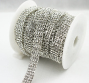 AEAOA 0.9m 1 Yard 4 Rows SS12 1.3cm Clear Crystal Close Silver Plated Rhinestone Chain Trims Cup Chain Wedding Cake Decoration