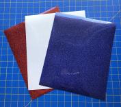 Siser Glitter Iron On Heat Transfer 3 25cm x 30cm Sheets, Red, Rainbow White, Royal Blue