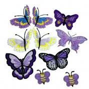 10 Piece Lilac Purple Butterfly Embroidery Applique Patch Iron on Cotton Applique Butterfly Patch