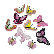 10 Piece Pink Butterfly Embroidery Applique Patch Iron on Cotton Applique Butterfly Patch