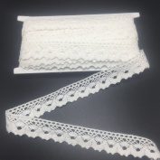ELLAMAMA Cotton Lace Trim DIY Craft Delicate Ribbon Scallop Edge 1.9cm Wide 10yds Offwhite