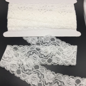 ELLAMAMA Elastic Lace Trim Soft Stretch DIY Craft Delicate Ribbon Vintage Flora Pattern 5.4cm Wide 10yds White for Wedding Decorations Headbands Garters
