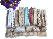 RayLineDo 20 Metres Assorted Vintage Style Cotton Lace Ribbon Trim Bridal Wedding Scalloped Edge Crochet Lace DIY Sewing Accessory Collection C