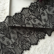 3 Metres Stretch Lace Fabric Black Flower Pattern Fabric Black Elastic Fabric for Tops Lingerie Costumes