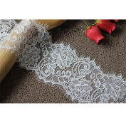 White Eyelash Lace Embroidery.Floral Fabric Scalloped Trim 3 Metres