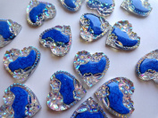 New fashion style sew on rhinestones heart shape 25x25mm flatback clear AB colour/deep blue handsewing gem stones crystal 20PCS
