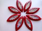 20pcs 50x20mm Navette Horse Eye Shape Sew on Rhinestones Red/ Clear AB Colour Big Resin Crystals Flatback 2 Holes Gem Stone