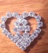 CraftbuddyUS One MT8-20mm Stick On Metal Diamante Heart Wedding Crystal Topper