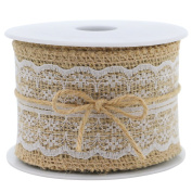 Burlap Ribbon Roll White Lace Trims Tape Natural Jute 400cm