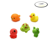 Mxixi Summer Cute Baby Girl Boy Kid Floating Bath Toys Toddler Bathtub Friends Classic Toys Rubber Race Squeaky Animals Family Set