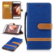 For Huawei P10 Case [with Free Screen Protector], Qimmortal(TM) Premium Soft PU Leather Cowboy Cloth Wallet Cover Case with [Kickstand] Credit Card ID Slot Holder Magnetic Closure Design Folio Flip Protective Slim Skin Cover For Huawei P10