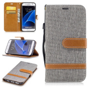 For Samsung Galaxy S7 Case [with Free Screen Protector], Qimmortal(TM) Premium Soft PU Leather Cowboy Cloth Wallet Cover Case with [Kickstand] Credit Card ID Slot Holder Magnetic Closure Design Folio Flip Protective Slim Skin Cover For Samsung Galaxy S ..