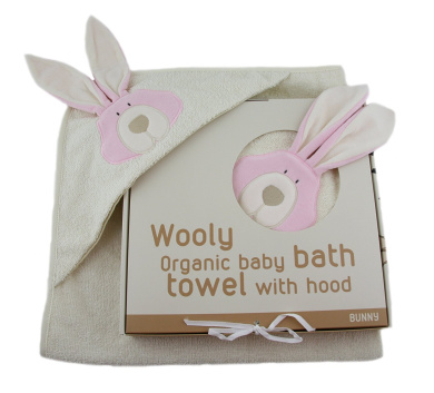 Woolly Organic Cotton Terry Hooded Towel Bunny 74x74cms Suitable from Birth, (Pink)