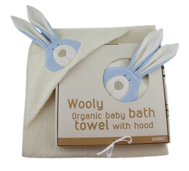 Woolly Organic Cotton Terry Hooded Towel Bunny 74x74cms Suitable from Birth, (Blue)