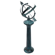 Rome B26 Pillar Sundial Pedestal, Cast Iron with Antique Painted Finish, 60cm Height by 20cm Diameter