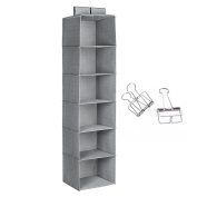 Songmics Hanging Wardrobe Storage with 2 Hook and loop 6 Shelves Sweater Organiser + 2 Binder, Grey 30 x 30 x 130 cm RCH06G