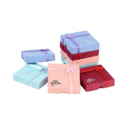 Pandahall 6 Pcs Cardboard Bracelet Boxes with Flower, Sponge and Fabric inside, Square, Mixed-Colour, about 9cm long, 9cm wide, 2cm thick