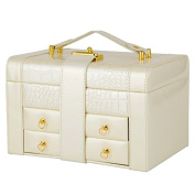 Wooden Jewellery Box Jewellery Incorporating Double Cassette Lock Portable Leather, 23.5×16.5×14Cm,White
