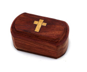 Handmade Christian Orthodox Wooden Wood Storage Box with Decorative Cross/ 274