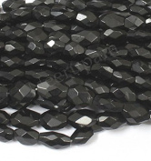Neerupam collection Natural Afghanistan Black Spinel Gemstone Faceted Oval Beads (Mani) 2 Line Loose 33cm Strand
