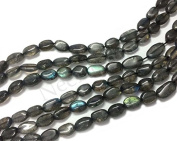 Neerupam collection Grey with Blue Flash Colour Natural African Labradorite Gemstone Plain Oval Beads (Mani) 3 Lines Loose 33cm Strand
