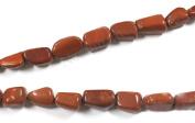 Neerupam collection Red Colour Natural Indian Jasper Gemstone Plain Tumble Shape Beads 1 Line Loose 30cm - 38cm Strand