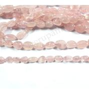 Neerupam collection Light Pink Colour Natural Indian Rose Quartz Gemstone Plain Tumble Shape Beads 1 Line Loose 30cm - 38cm Strand