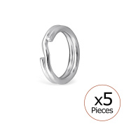 Pack of 5 Split Ring Sterling Silver 925/000 Rhodium-Plated 6.5 Mm