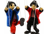 SPARIK ENJOY 2 Packs Clown Pirate Hand Marionette Puppet Children's Wooden Marionette Toys Colourful Marionette Puppet Doll Parent-Child Interactive Toys-Black and Red Pirate