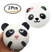 Trasfit 2 Pieces Jumbo Slow Rising Squishies Panda Bread - Scented Kawaii Squishy Cake Squeeze Toys Stress Relief Toy