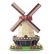 Creative 3D Puzzle Paper Model Holland Windmill DIY Fun & Educational Toys World Great Architecture Series, 45 Pcs