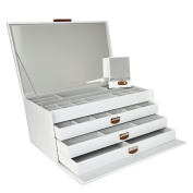 DULWICH DESIGNS Extra Large White Premium Bonded Leather Jewellery Box