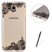 Samsung Galaxy J7 Prime Transparent case [with Free Black Touch Stylus],KaseHom Flexible TPU Gel Protective Skin Shock Absorption Technology Anti-scratching Rubber Bumper Black Lace Flowers Printing Painting Design See Through Crystal Clear Silicone Co ..