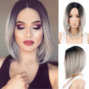Royalvirgin Women's Wig Short Bob Grey Wig Fashion Top Quality Heat Resistant Synthetic Ombre Black to Grey Hair Wigs for Women