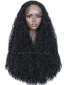 Vanessa Queen Synthetic Lace Front Wig Heat Resistant Fibre Hair Half Hand Tied Curly Black Replacement Hair Wigs For Women 70cm