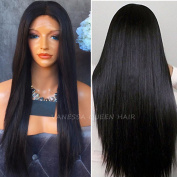 Vanessa Queen Cheap Lace Front Wigs Half Hand Tied Synthetic Hair Heat Resistant for Women Black Natural Straight Wigs 50cm