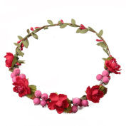 11 Colours to Choose Flower with Imitate fruit Hair Ornaments Beach Vocation Holiday hair Band Travel Headband Hair Band Hair Ornaments Women Wedding Ornaments Romantic Bride Headdress Hair Ornaments Hair Bands