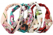 iLoveCos Women Stretchy Head Wrap Floral Style Crossover Headbands 4 Pieces