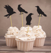 Darling Souvenir, Halloween Party Glitter Black Crow Cupcake Toppers, Party Dessert Cake Decorations - Pack Of 20