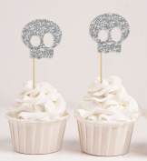 Darling Souvenir, Halloween Skull Cupcake Topper, Party Dessert Decorations - Pack Of 20