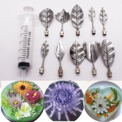 3D Gelatin Art Tools, Set of 10 Pieces Stainless Steel Jelly Cake Needles Coming with One 10ml Syringe of Aixin